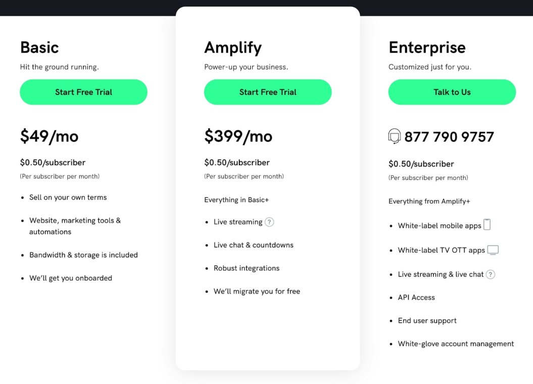 uscreen pricing page