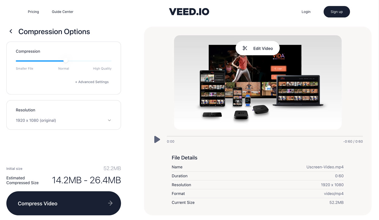 Reducing video file size using VEED