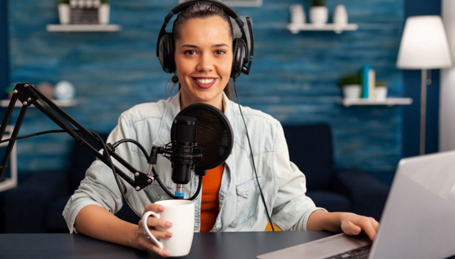 woman recording live content