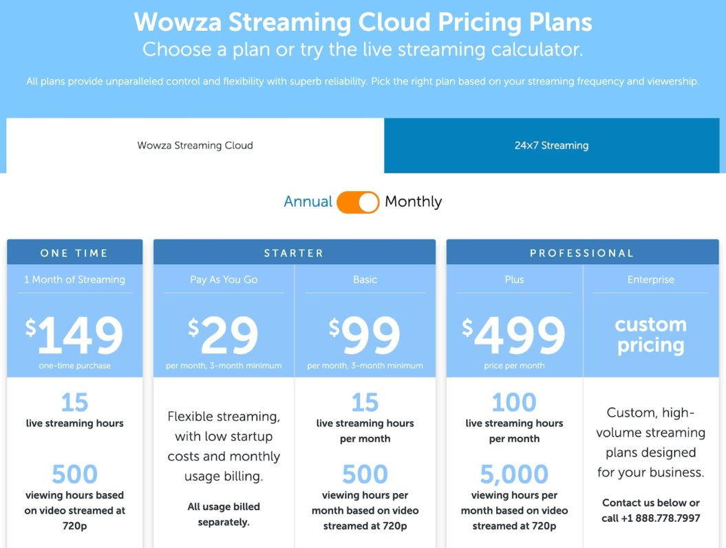 wowza streaming pricing page