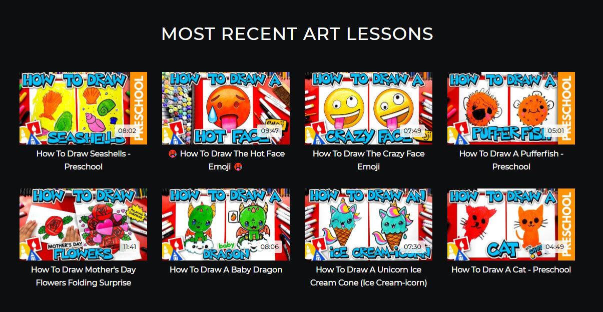 art for kids website screenshots