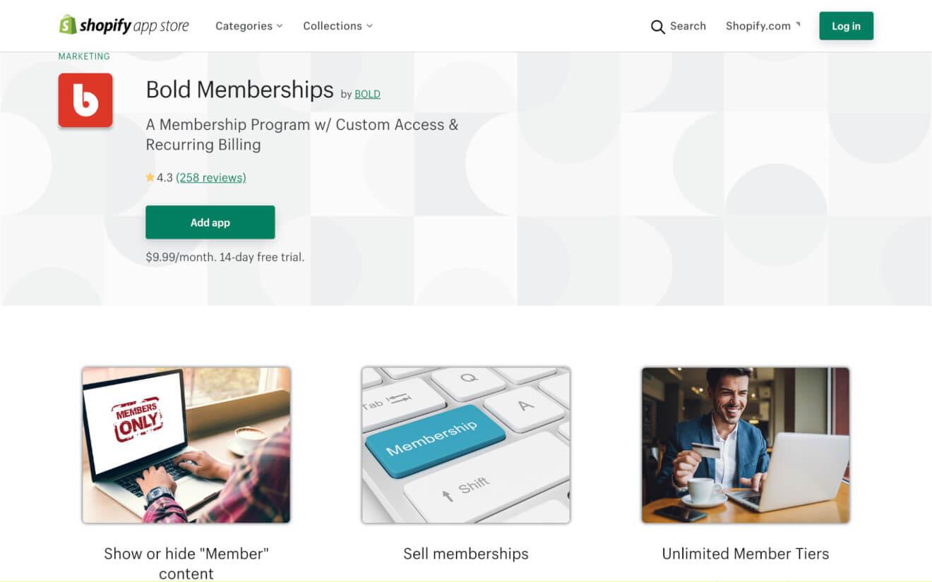 bold memberships landing page