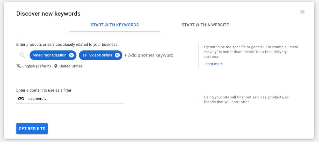 google ads keywords research