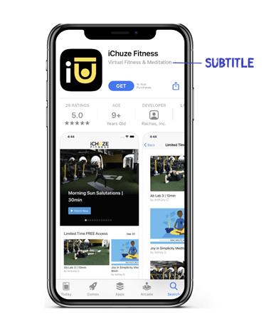 ichuze fitness app store subtitle optimization