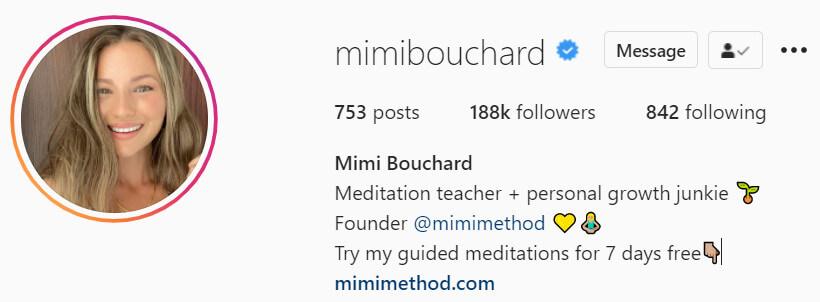 mimi bouchard instagram bio