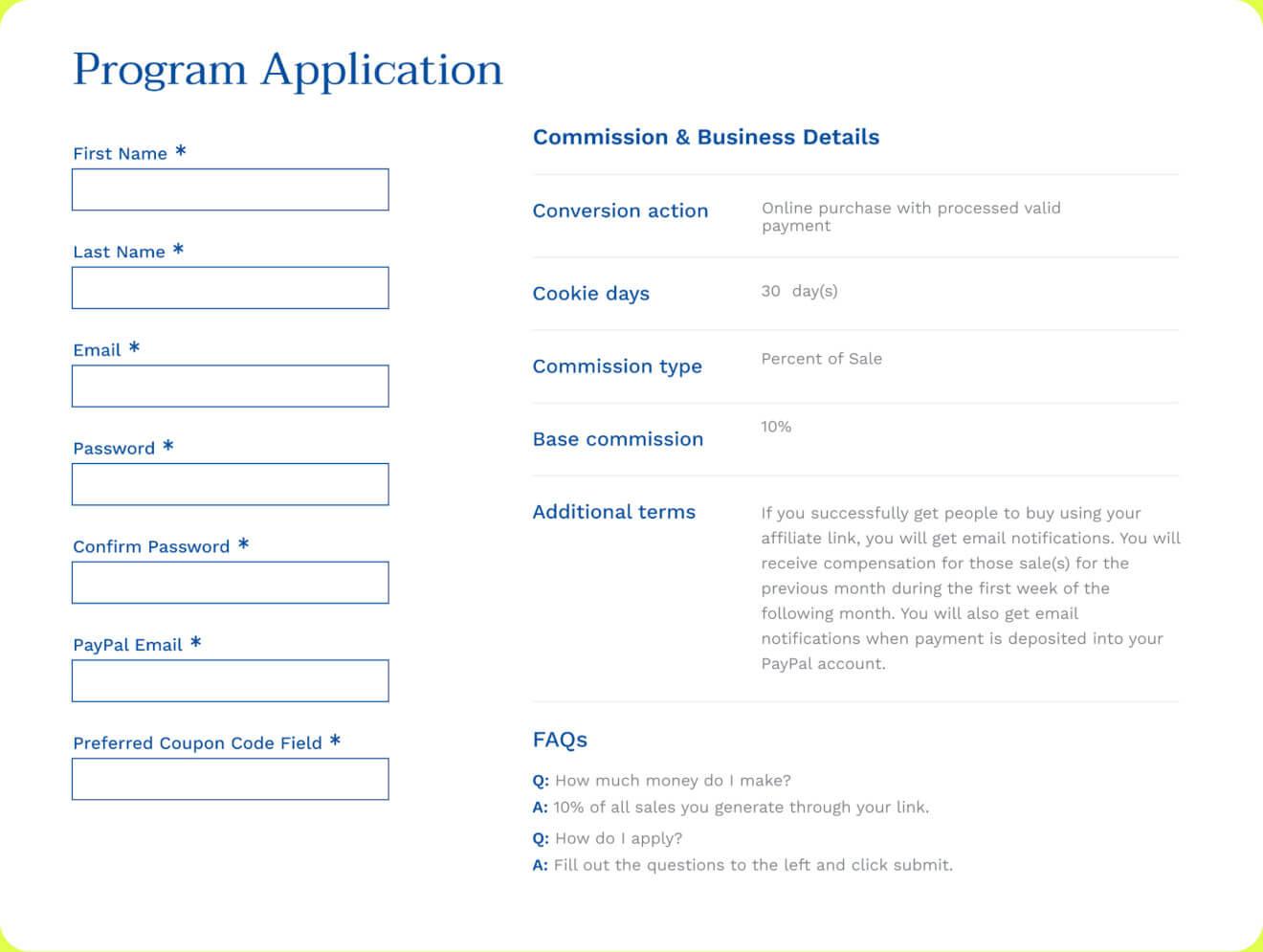 affiliate program application