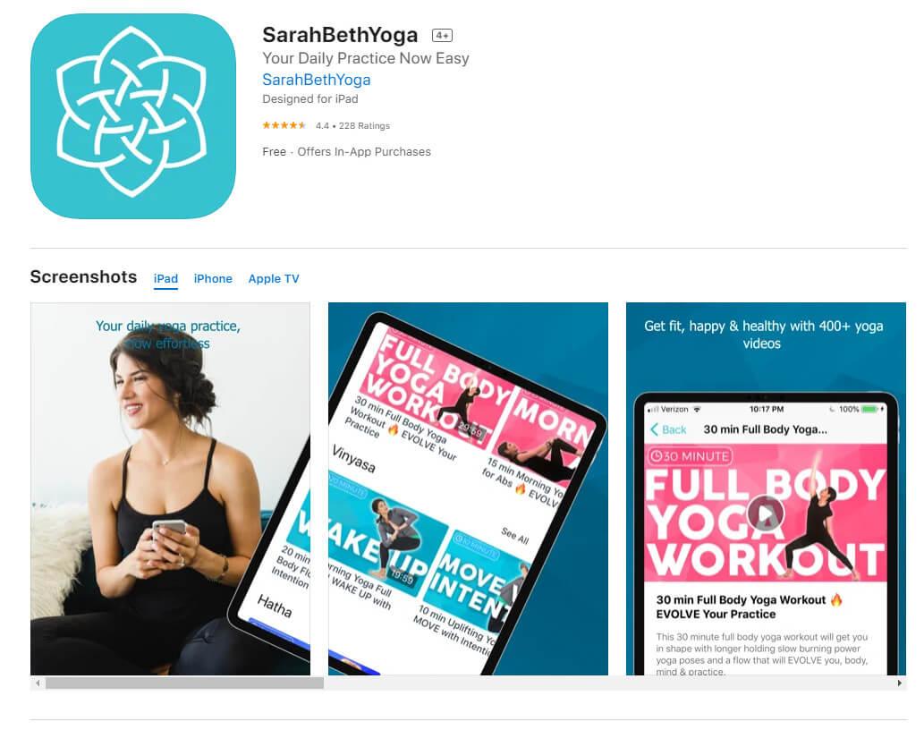 sarahbethyoga app preview screenshots