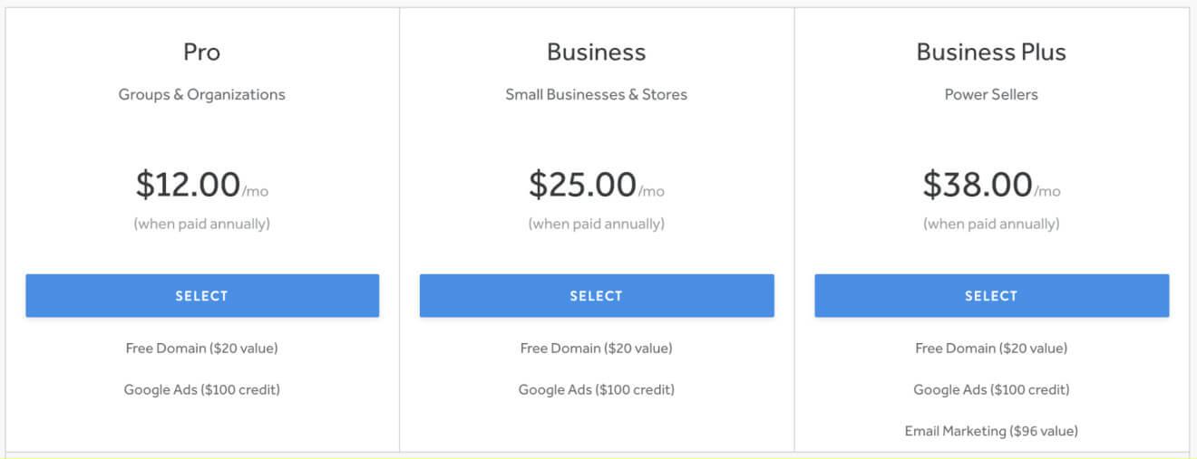 weebly website builder prices