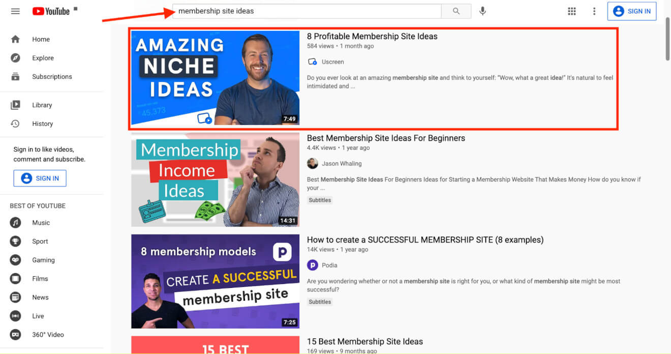 youtube competition search