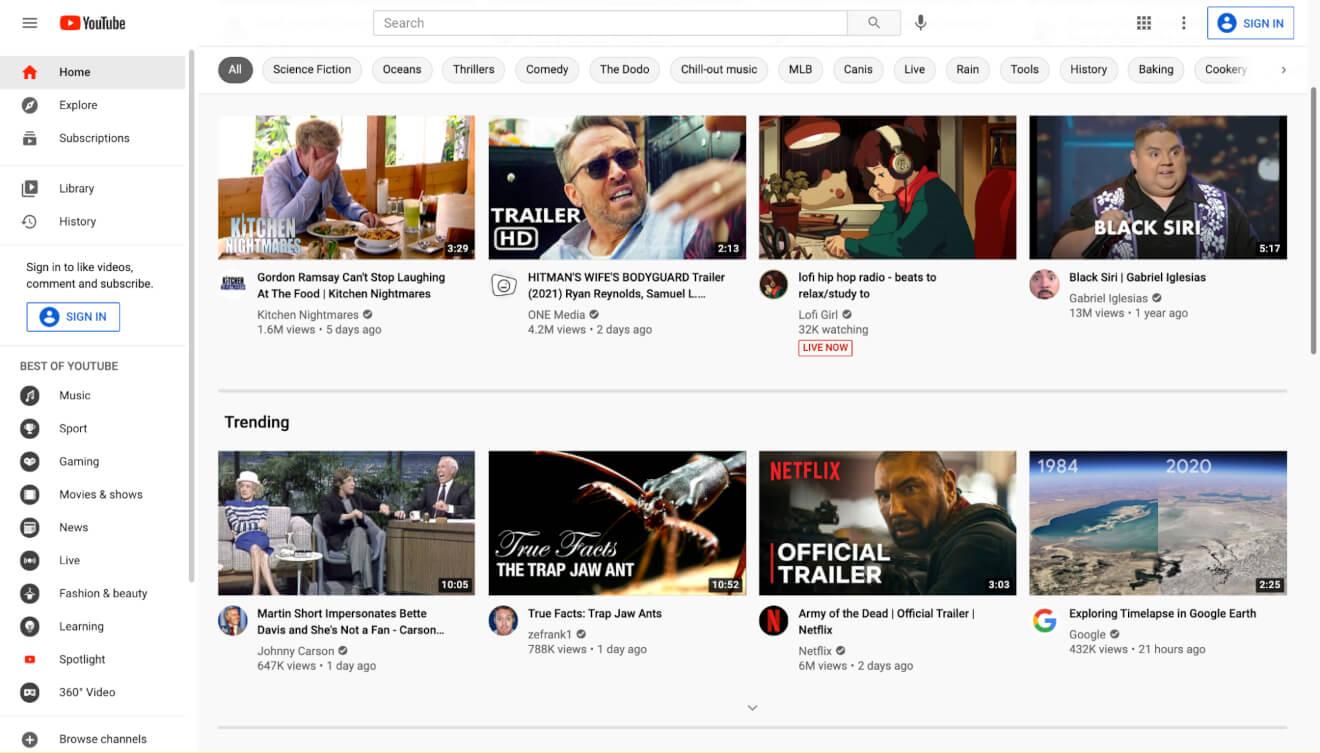 youtube homepage video streaming platform