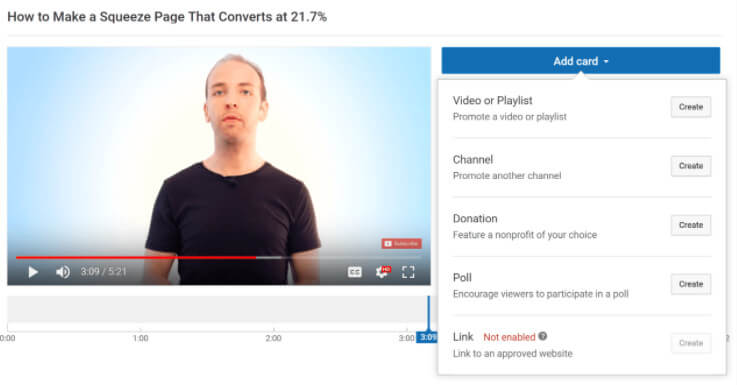 youtube video add card for retention