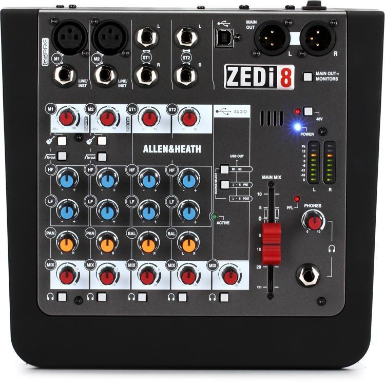 allen and heath zedi-8 audio mixer