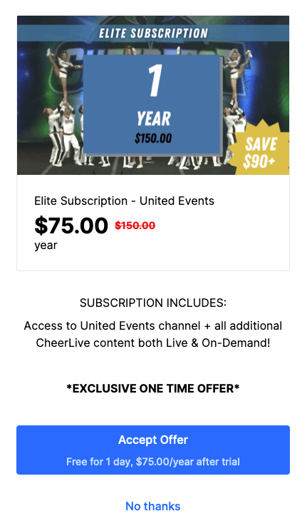 cheer live yearly upsell