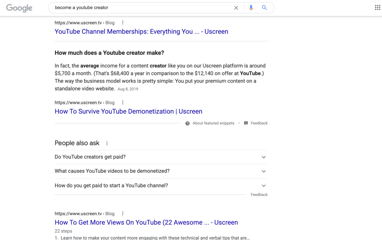 become a youtube creator search result