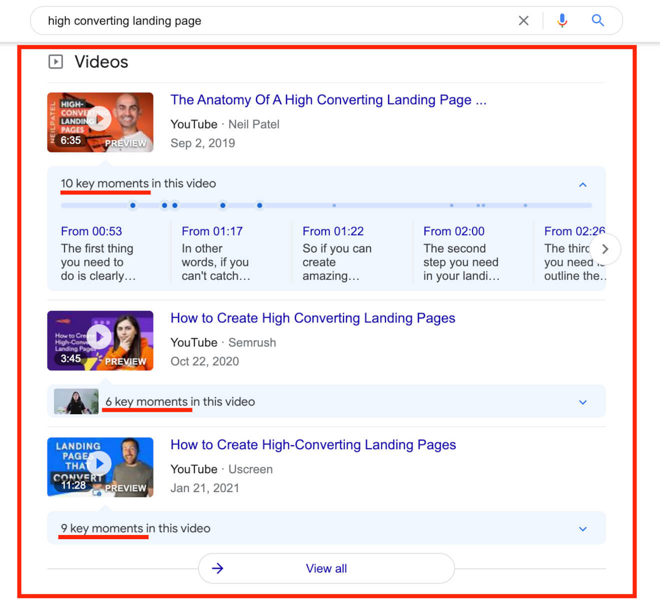 youtube in google search results
