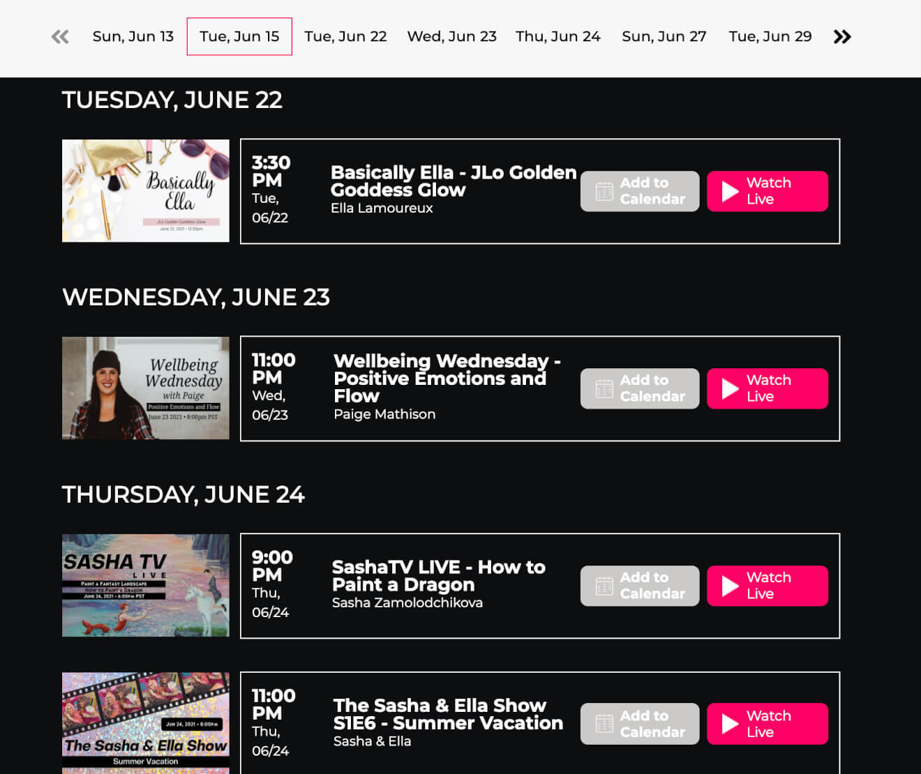 unicorns.live livestream schedule