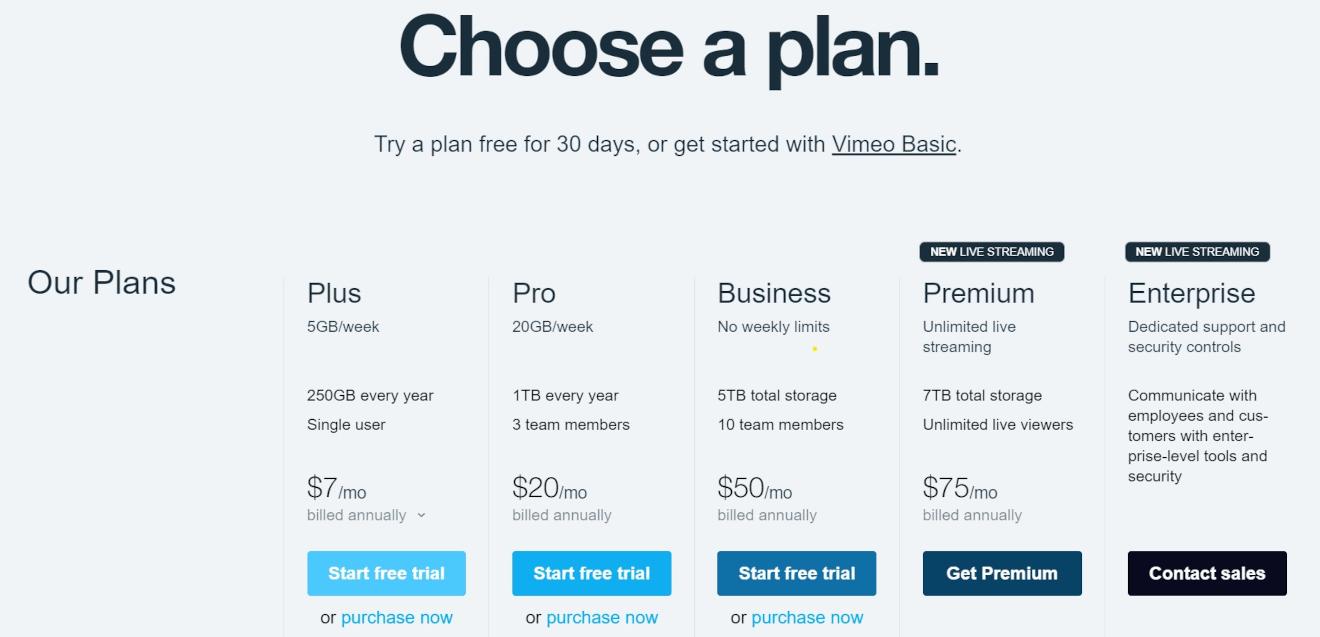 vimeo hosting plans