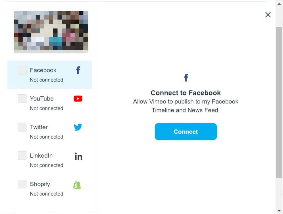 linking social media to vimeo