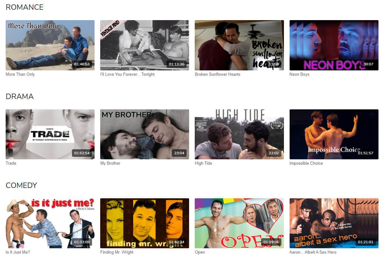 GayBingeTV categories example