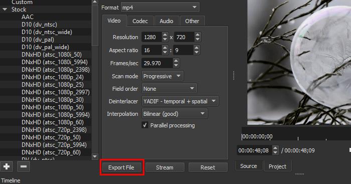 shotcut editor export file