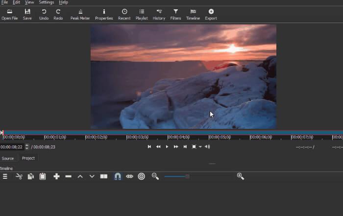 shotcut video editor timeline
