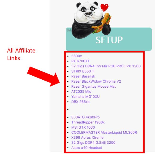 streamer bio affiliate links
