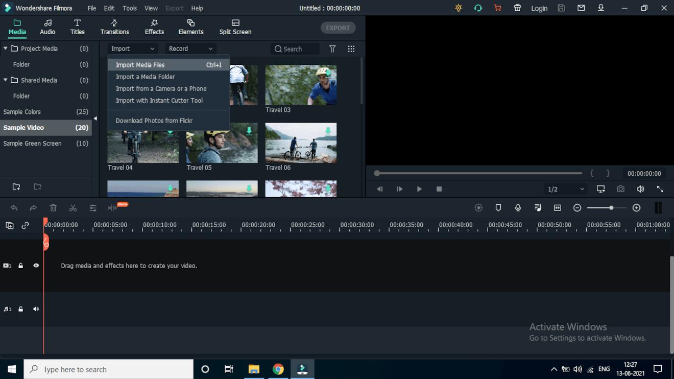 wondershare filmora content preview