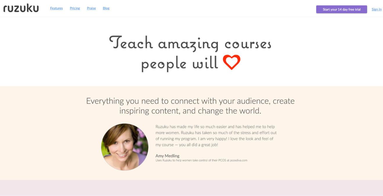 ruzuku online teaching platform