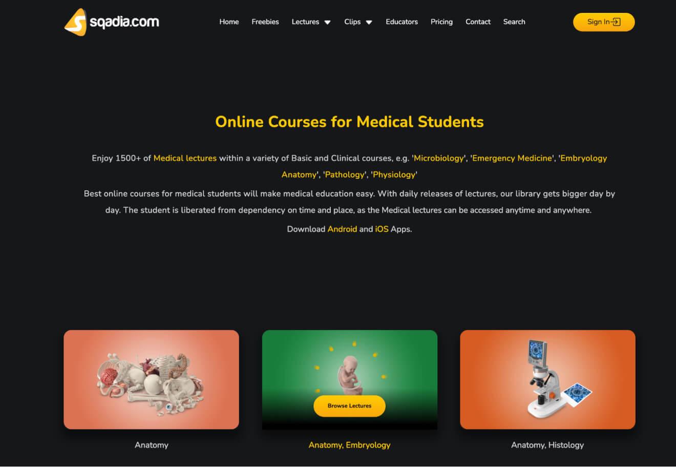 sqadia online courses categories