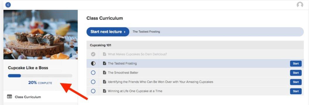 teachable course progress