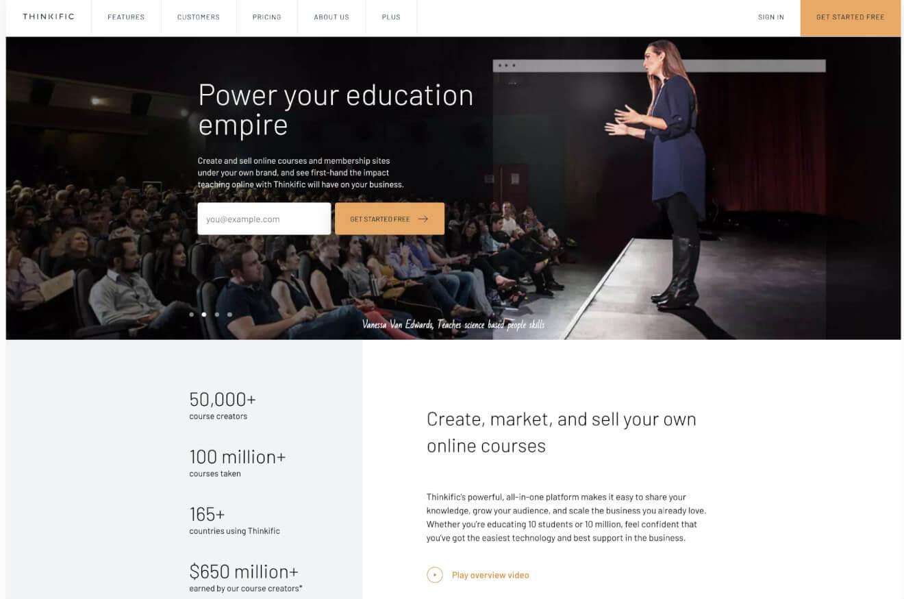 thinkific membership site builder