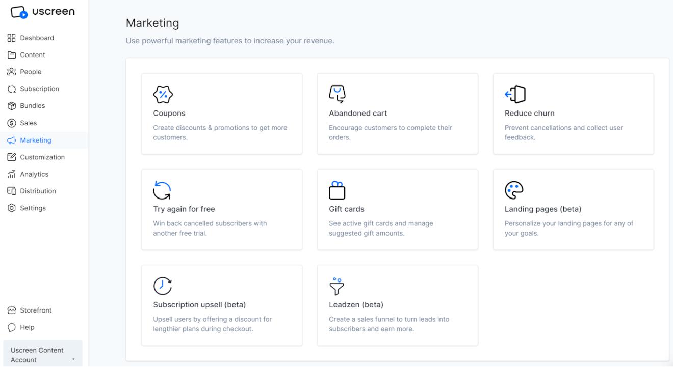 uscreen marketing tools
