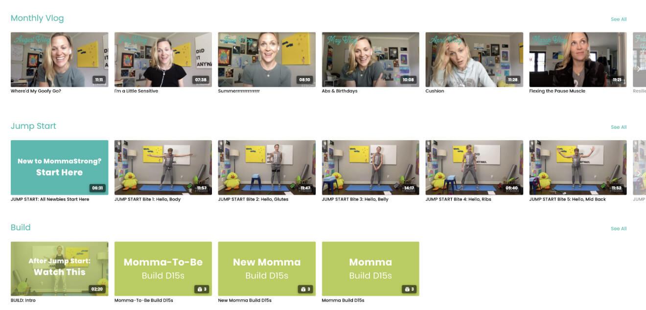 MommaStrong Video Catalog