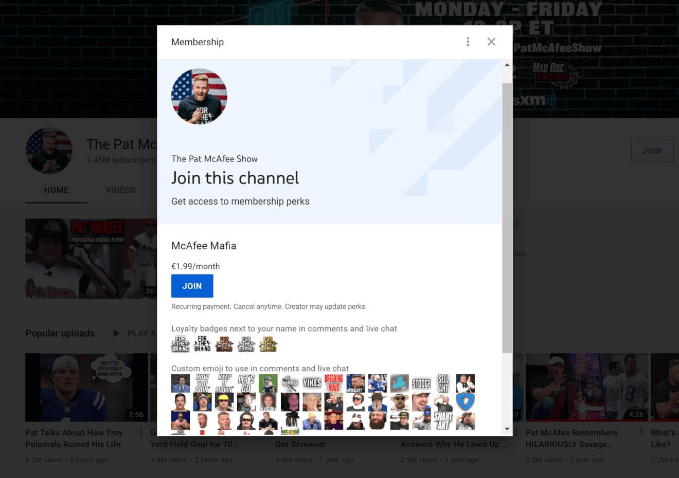 youtube channel memberships example